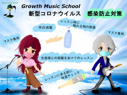 Growth Music School 新型コロナウイルス 感染防止対策