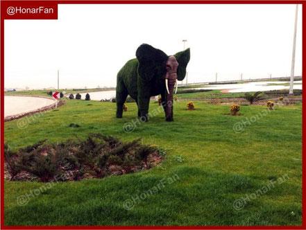 تندیس ماکت مجسمه چمنی فضای سبز با روکش چمن مصنوعی مجسمه فیل
