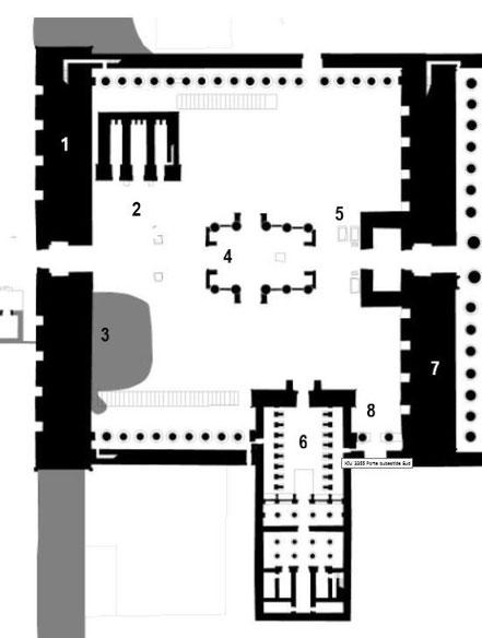 Karnak - Grande cour - Séthi II - Ramsès II - Pinedjem - Ramsès III - Chéchonq