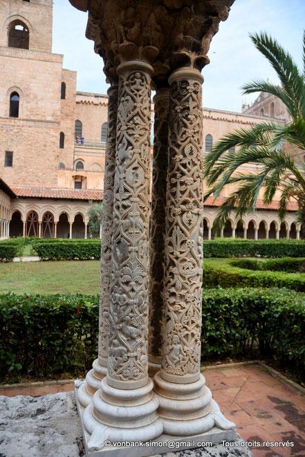 Cloître des Bénédictins (Monreale) : Colonnes de l'angle Nord-Est (Petit Cloître) - Sicile - Italie