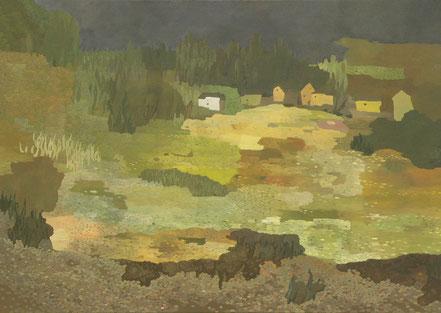 """Martin Guido Becker, """"Dorf"""", 2015, Öl/Lwd, 70/100 cm"""