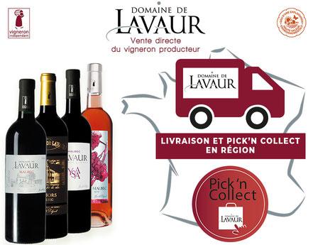 livraison et pick and collect en régions - Domaine de Lavaur - 100 % malbec - AOC Cahors