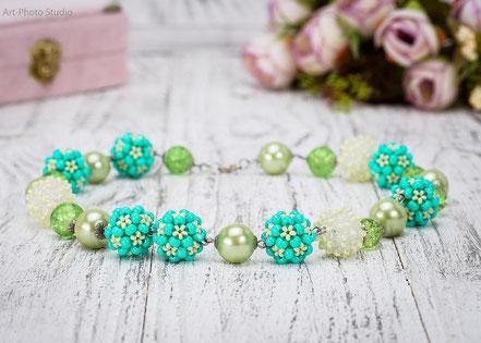 фото ожерелья из полу-драгоценных камней
