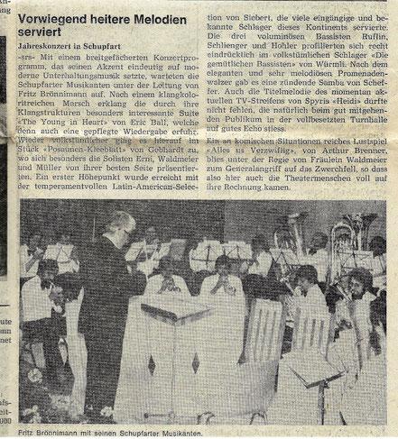Jahreskonzert 1978, Musikalische Leitung: Fritz Brönimann