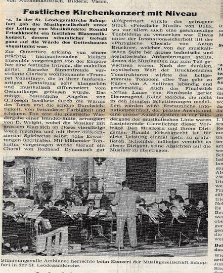 Musikgesellschaft anlässlich des Kirchenkonzertes vom März  1977, unter der Musikalischen Leitung von Roland Frischknecht