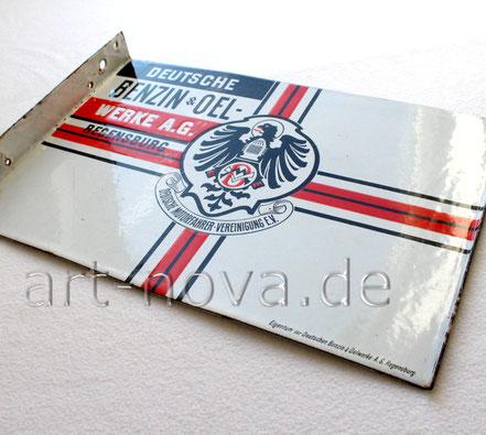Beeindruckendes Emailschild Benzin & Oelwerke AG Regensburg um 1910