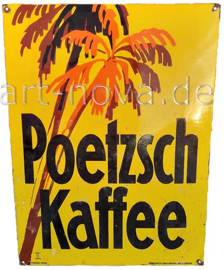 bemerkenswertes farbenfrohes Emailschild Poetzsch Kaffee