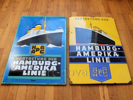 Emailschilder der Hamburg Amerika Linie, HAPAG im unrestauriertem Originalzustand.