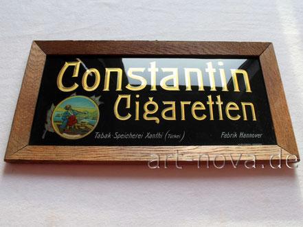 Glasschild Constantin Cigaretten Hannover in unrestaurierter Erhaltung.
