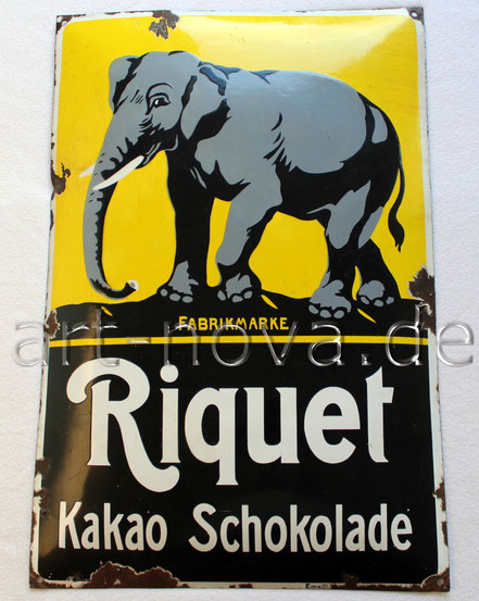 Uraltes Emailschild Riquet Schokolade mit einem Elefant in einem tollen Hochglanz!
