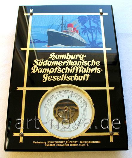Glasschild der Hamburg Südamerikanische Dampfschifffahrts- Gesellschaft um 1930