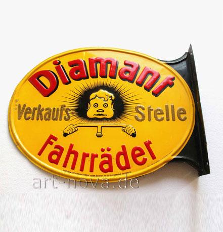 Zwei Blechschilder Diamant Fahrräder Chemnitz im unrestaurieren Originalzustand!