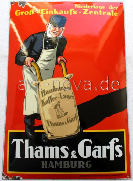 wunderschön emailliertes Schild von Thams & Garfs aus Hamburg