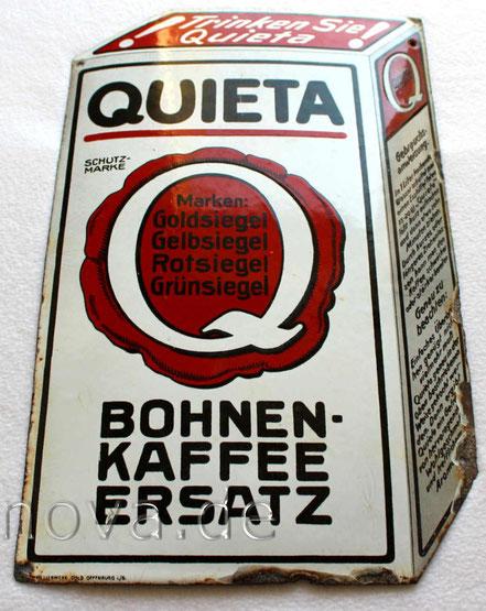 unrestauriertes Emailschild Quieta Bohnen-Kaffeeersatz