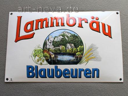 antikes Werbeschild der Lammbräu Blaubeuren um 1900