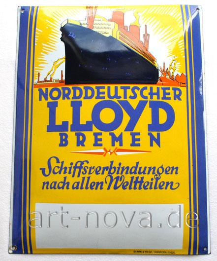 Werbeschild aus der Zeit um 1920 des Norddeutschen Lloyd Bremen