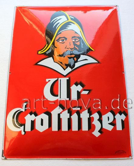 Uraltes Emailschilder der Ur-Crostitzer Brauerei um 1920 im Traumzustand!