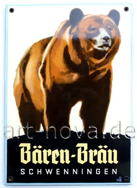 Altes Emailschild der Brauerei Bären Bräu Schwenningen um 1950 in sehr schöner Erhaltung!