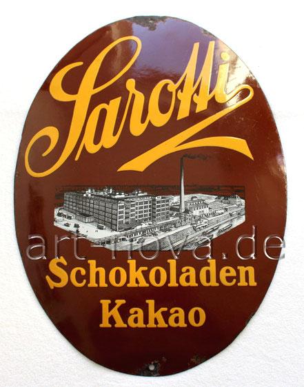Emailschild Sarotti Schokoladen Kakao Berlin aus dem Jahr 1920  in sehr schöner Erhaltung
