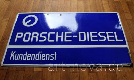 Emailschild Porsche Diesel Kundendienst im unrestauriertem Originalzustand!