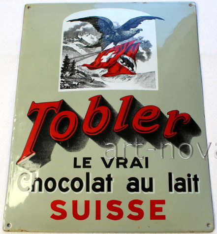 hervorragend erhaltenes Emailschild Tobler le vrai chocolat au lait Suisse