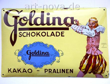 toll erhaltenes Emailschild Goldina Schokolade aus Berlin
