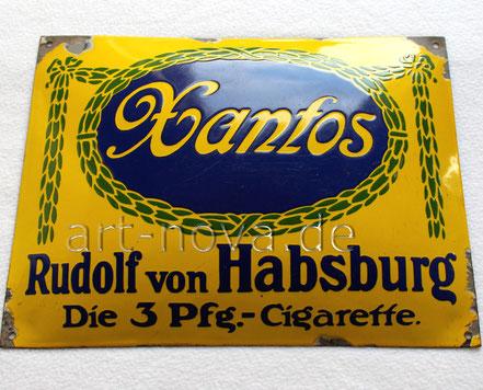 Emailschild von Xantos Cigaretten Dresden um 1900 in sehr schöner Erhaltung!