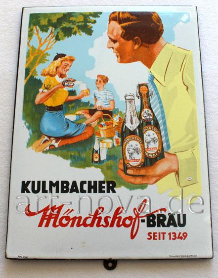 Traumhaftes Emailschild Mönchshof-Bräu Kulmbach um 1950!