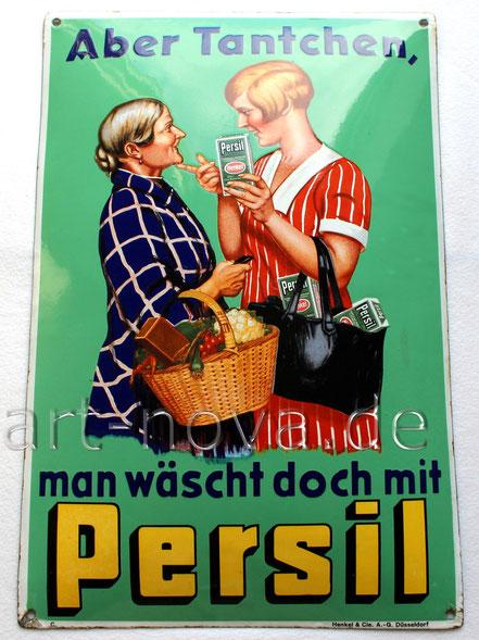 Emailschild: Aber Tantchen, man wäscht doch mit Persil