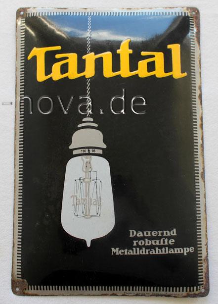 Emailschild Tantal Glühlampen Wotan - Museales Urgestein
