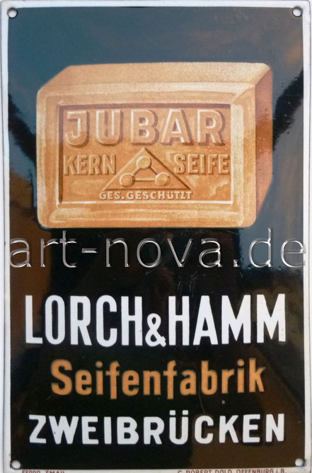 Emailschild Lorch & Hamm Seifenfabrik aus Zweibrücken in traumhafter Erhaltung