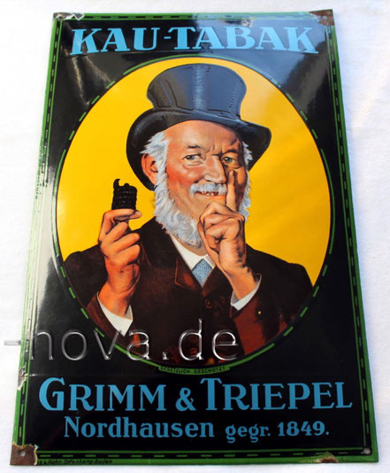 Emailschild Grimm & Triepel Nordhausen im unrestaurierten Originalzustand!
