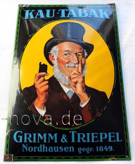 Emailschild Grimm & Triepel Nordhasen im unrestaurierten Originalzustand.