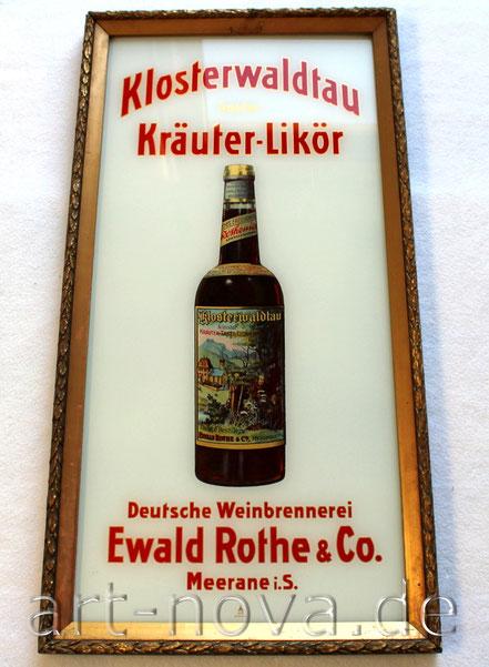 Glasschild Klosterwaldtau Kräuter Likör, Meerane in Sachsen in unrestauriertem Originalzustand.