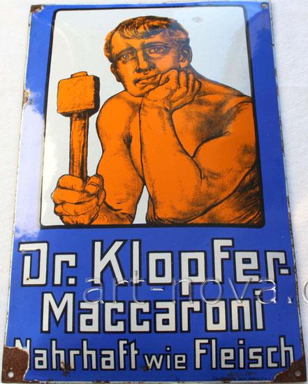 toll erhaltenes und unrestauriertes Emailschild Dr. Klopfer Maccaroni
