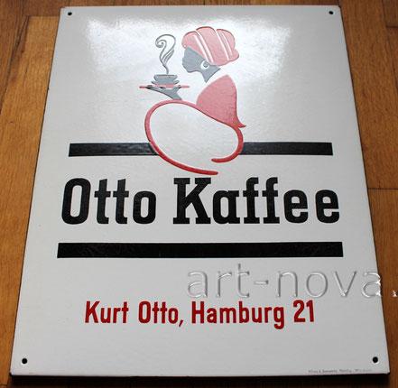 fett emailliertes Schild Otto Kaffee Hamburg