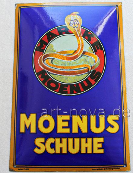 Emailschild Moenus Schuhe Frankfurt am Main um 1930 in sehr schöner Erhaltung!