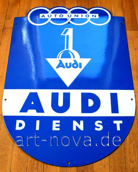 Emailschild Audi Dienst Auto Union Zwickau im unrestaurierten Originalzusatand!