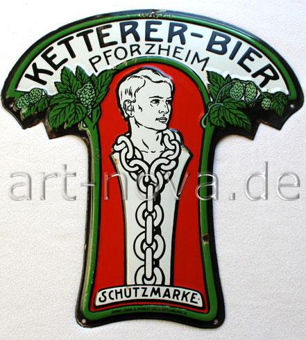 Emailleschild Ketterer-Bier Pforzheim in wunderbarer Erhaltung um 1910