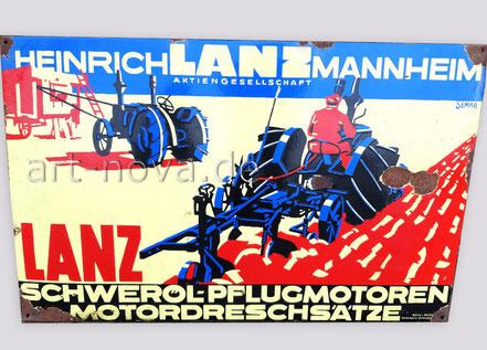Emailschild Heinrich Lanz Mannheim Schweröl-Pflugmotoren im unrestaurierten Zusatand!