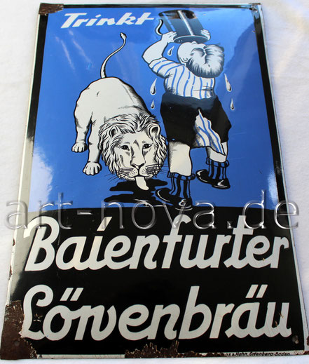 originales Emailschild Baienfurter Löwenbräu um 1920 in sehr schöner Erhaltung