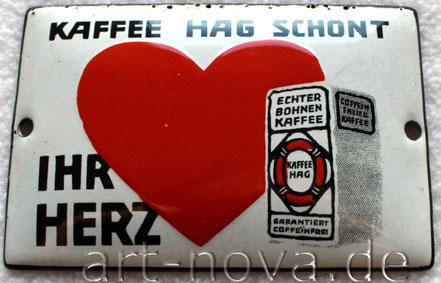 unrestauriertes markantes Emailschild Kaffee Hag aus Bremen