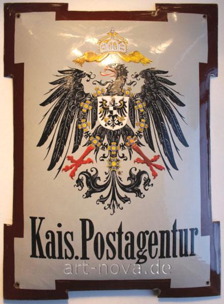 außergewöhnliches Emailschild der Kaiserliche Postagentur