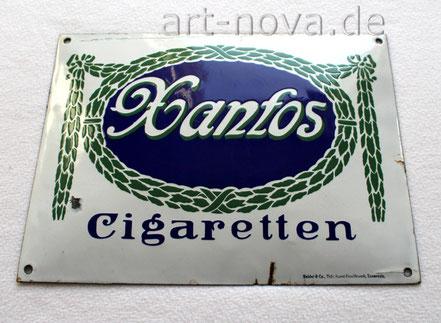 Emailschild Xantos Cigaretten Dresden im unrestaurierten Originalzustand!