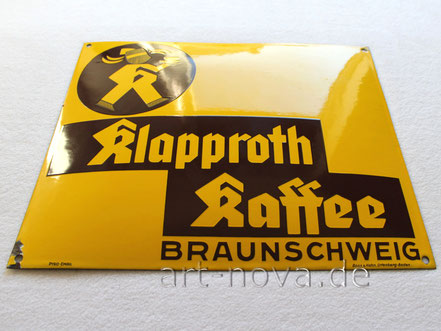 schönes Emailschild Klapproth Kaffee aus Braunschweig