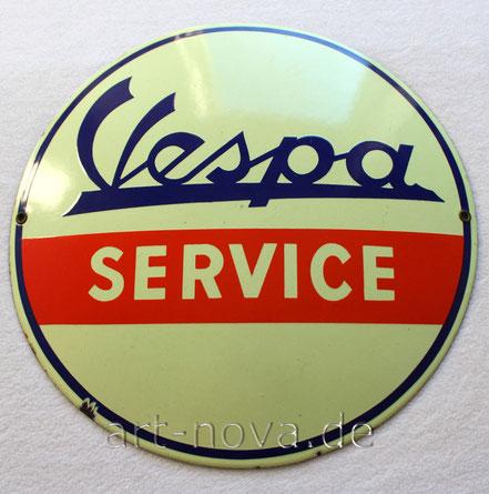 Emailschild Vespa Service im unrestaurierten Originalzusatand!