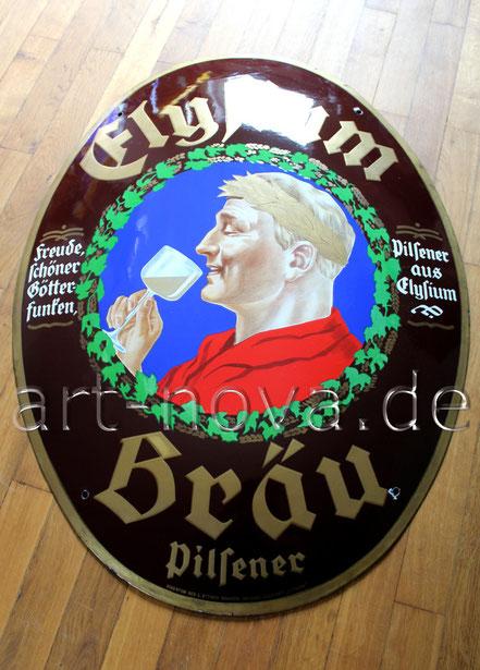 Emailschild der Brauerei Elysium aus Stettin um 1920