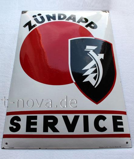 Emailschild Zündapp Service im unrestauriertem Originalzustand!