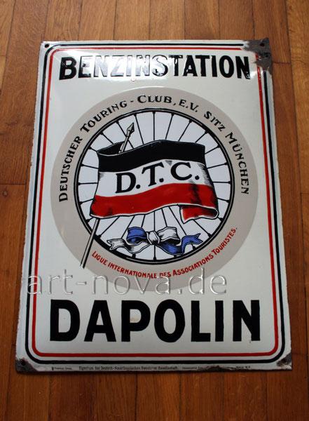 Emailschild Dapolin Benzinstation - Original um 1910!