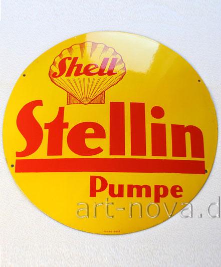 Emailschild Shell Stellin Pumpe im unglaublichen Erhaltungszustand